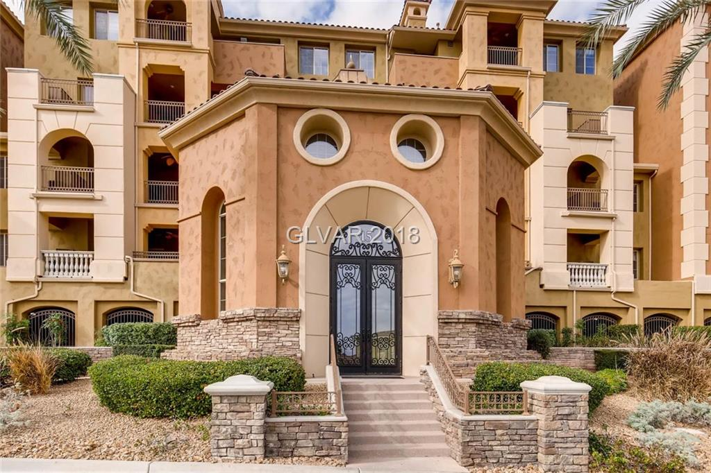 Elegant Tuscan style condo in guard gated South Shore at Lake Las Vegas.Enjoy a wonderful sense of privacy in your corner, Penthouse unit with dramatic courtyard entrance. Spacious floorplan with 3 large bedrooms, 2 full baths and exquisite finishes throughout. Watch the sun rise over the mountains on your oversized balcony, perfect for entertaining.Elevator access to all floors & garage. Penthouse includes 2 parking spaces!