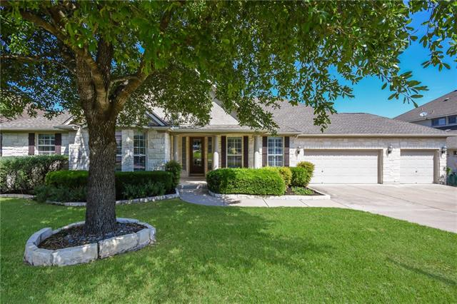 One story, 3 car garage backing to the greenbelt!  4 bedrooms, 3.5 baths + huge office/study.  All carpet replaced in April '18.  Well thought out, open floor plan, with master suite separate from other rooms. Large kitchen complete with center island and breakfast bar, lots of cabinet space, and spacious breakfast area. Enjoy afternoons in private backyard complete with covered patio.  Front secondary bedroom has its own bath which works perfect for guests.  Located in award winning Leander ISD.