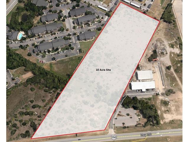 10 Acres with excellent visibility and frontage on Hwy 290. Zoned LI (Light Industrial) this lot is ideally located for users who want to be close to downtown but expect heavy traffic and want to avoid CBD congestion. Separate from Walnut Creek Business Park so their deed restrictions do not apply. Billboard on property is highly visible to both east and west bound traffic.