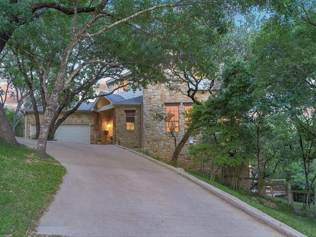 NW hills home stately sited on a gorgeously wooded .37 corner lot.  Fabulous views from open living/dining/kitchen w/ balcony.  Windows galore!  Guest room on main w/ full bath.  Master up w/ MORE views of the hill country/downtown/UT tower. Sitting porch off master. 2 add'l BRs/1BA up incl loft for office/study.  Bonus room walk out, not included in sq. footage, w direct access from living for kids/office retreat.  Timeless design!