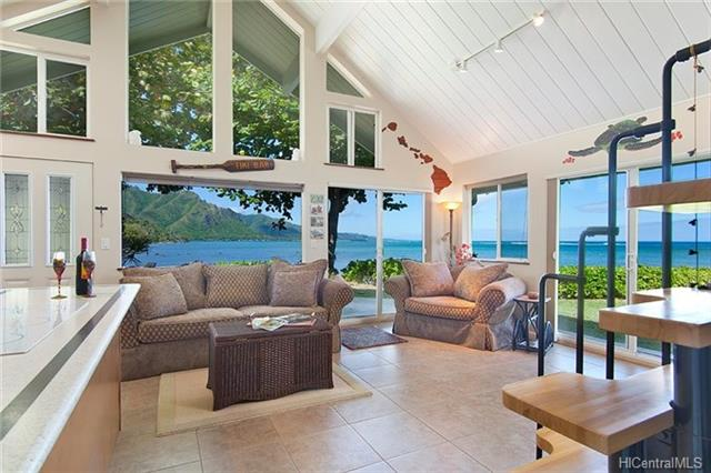 OCEANFRONT UNDER $1M!  Extraordinary windward-north shore oceanfront home extensively renovated. Ocean, coastline, mountain views from every room, including the 2 bedrooms on the first floor, and large oversized loft upstairs; 1.2 baths on the first floor, with plumbing already set-up to put another bath upstairs. Nestled on Kahana Bay Reef, this is a unique community of 8 individual homes each with large lanais; HOA provides owners more free time to enjoy onsite Hawaiian lifestyle, tropical landscape and swimming pool; fishing, surfing, snorkeling, kayaking and more; plus all the white sandy beach/parks stretching the length of Kaaawa Beach to Kualoa Park. Relax while watching beautiful sunrises and moonrises reflect off the ocean waters. Owner willing to sell furnished.