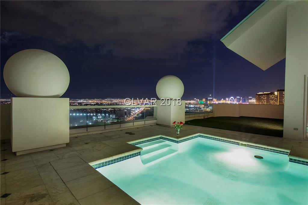 Best Buy!Two level Top floor penthouse showcasing 270 degrees of majestic view of the world's famous LV strip,mountains & two golf courses.Unique 6,421 sq.ft.Top floor features a private pool,massive upper deck double fireplace,two wet bars,game lounge,spacious living room opening up to the gourmet kitchen, formal dining, Four large bedrooms, Six baths & Three verandas.Few mins. to the best entertainment,shops & dining.Limo services & much more.