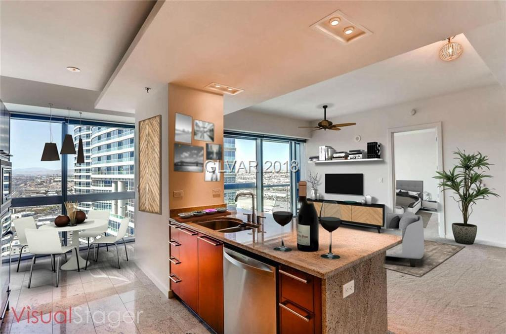 Luxurious High Rise Condo Live directly across from the famous Vegas Strip. WALK to the new Raider Stadium! Floor to Ceiling 10' Windows with Views of the South Strip and Mountains.Stunning 2 Bd/2 BA Condo w/Kashmir Granite Counters,Marble Flrs, all SS Appliances,Auto Window Shades,Murphy Bed/Cabinets in 2nd Bdrm.Fridge/Washer/Dryer included. Small office area.Full service building w/Pool,Gym,Spa,Concierge.Includes 1 Parking Space. Welcome Home!