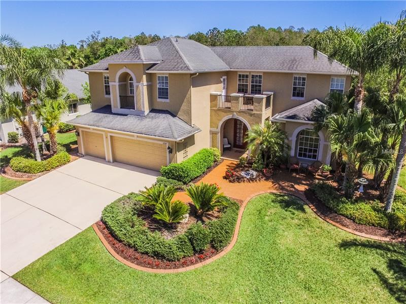 Beautifully upgraded and maintained, private setting located on a pond lot with conservation views. 3,964 Sq Ft offers 4 bedrooms (Master down), 4 baths (2 upstairs, 2 downstairs), office/library, loft, upstairs bonus room, solar heated pool, 3 car garage. Enjoy the peaceful outdoor setting from the covered lania/patio/pool area. Located in the gated village of Pinecrest of Seven Oaks. Many NEWER updates including: 2 A/C units, Oven, Microwave, Dishwasher, Water Softener, Interior paint, Exterior paint, Hot water heater, Resurfaced pool, Rescreened pool cage, and more! Spacious Kitchen offers plenty of rich cabinetry, granite counters, stainless steel appliances, center island, desk, tile backslash, gas cooktop, snack bar, breakfast nook and is open to the large Family room with wood floors and pocket sliders to lanai/pool. Formal Living and Dining rooms offer beautiful wood floors. Spacious downstairs Master Bedroom includes a fireplace and sliders with great views to backyard. Master bath offers 2 vanities, granite counters, garden tub, large separate shower. Pool bath, double front doors, extended front pavered patio, tray and volume ceilings, columns and art niches, crown moldings, granite in secondary baths, 8' pocket sliders, much more! Community of Seven Oaks features clubhouse, resort pools, fitness center, movie theater, tennis courts, basketball, parks, playgrounds. Conveniently located close to I-75, I-275, Wiregrass Mall, Premier Outlet Mall, restaurants, hospitals, USF, and more!