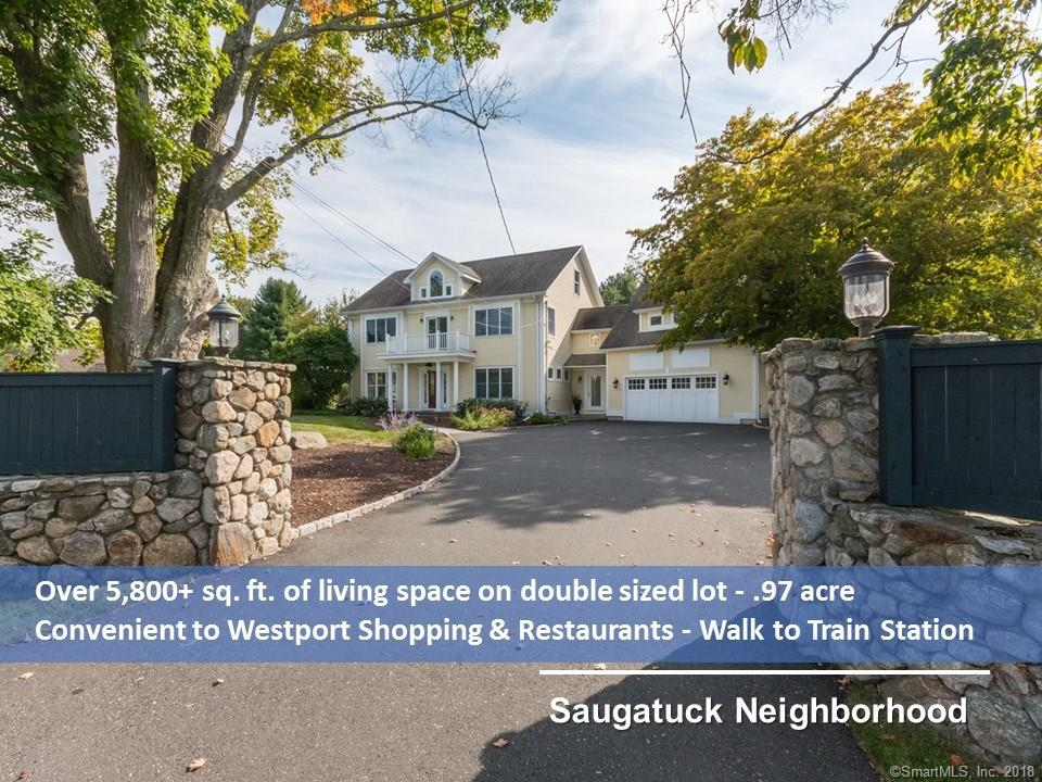 You will love the near town convenience of this Saugatuck area 4,450+ sq. ft. Colonial on a double sized lot with many upgrades designed for today's lifestyle. Entry foyer with custom mill-work & crown moldings. Living room with crown moldings, recessed lighting and French door to arbor covered patio. Dining Room with large window overlooking side yard and gardens. Double doors opening to study/office with built-ins. Cooks kitchen with granite counter-tops, island w/2nd sink & eating area, that opens to a large Family/Great Room. The Great Room with fireplace has a large French door that opens to blue stone patio overlooking half acre landscaped backyard oasis with privacy fencing (room for a pool). Mudroom with laundry area & entry from garage. Large Master suite with vaulted ceiling, 2-storey window, walk-in custom closet, bath with double sinks, whirlpool tub, steam shower & 2nd closet. 3 additional bedrooms, den with balcony, Large 5th bedroom suite with its own bath.  3rd floor with loft area & playroom. Finished 1,400 sq. ft. (not incl in tot sq. ft.) Lower Level offers great flexibility: Currently used as fitness center, changing room & full bath. Recent improvements include: Hydro air heating sys with Central A/C units, Genrac® Generator, Turf irrigation sys, perimeter privacy fencing, specimen plantings, blue stone patio, & stonework. Room for a pool. Walkable to Westport Train Station, Rowing Club & Birchwood Country Club. Short drive to I-95 & Westport restaurants.