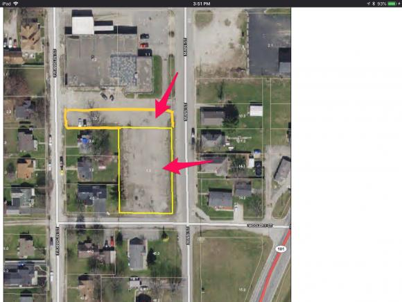 Commercial/Industrial zoned Lots 4,5,6,7 & 11 in Chris Volz Addition. Used to be part of the old Chris Volz Motors parking area. Road frontage on Main St is 217 ft and road frontage on Woolery St is 110 ft. Also 37 ft on Franklin St.