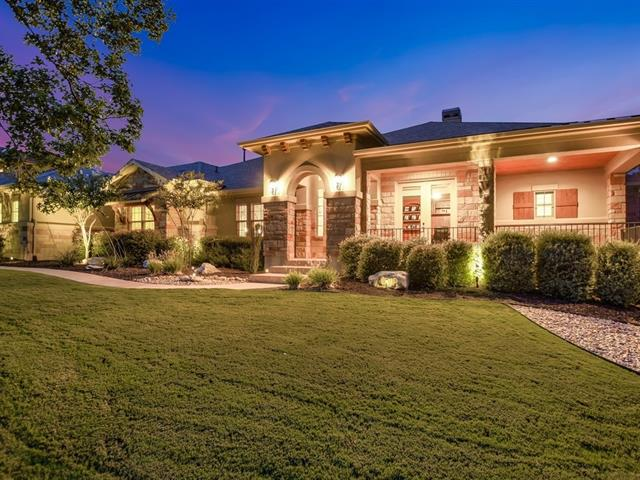 Dazzling 4600sqft 1-story w/high-end upgrades & attention to detail: Cantera door; Brazilian cherry hardwoods; top level kitchen granite (25K); gorgeous built-ins; beamed & coffered ceilings; plantation shutters; honed limestone ctops in all baths. All beds with/baths & walk-ins, kitchen has SS appliances (including fridge), oversized 3-car garage, pool w/waterfall, outdoor living w/grill & fire pit. Eye-catching pro landscaping is low maint. An immaculate home for discriminating buyers