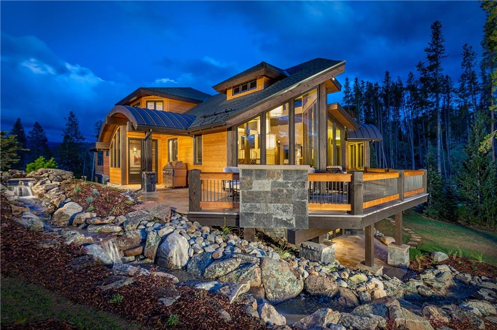"""Elk Point at Highlands Glen: stunning architectural design in a private setting on nearly 4 rolling acres. Sweeping 270 degree views from the Breckenridge Golf Course to the Ski Resort. Parade of Homes """"Home of the Year"""" multiple award winner. Barrel vault ceilings, cascading floating staircase, state of the art Savant home automation, 5 indoor fireplaces, 3 outdoor fireplaces, multiple outdoor living spaces, custom water feature and an elevator. Please request the detailed Features List."""