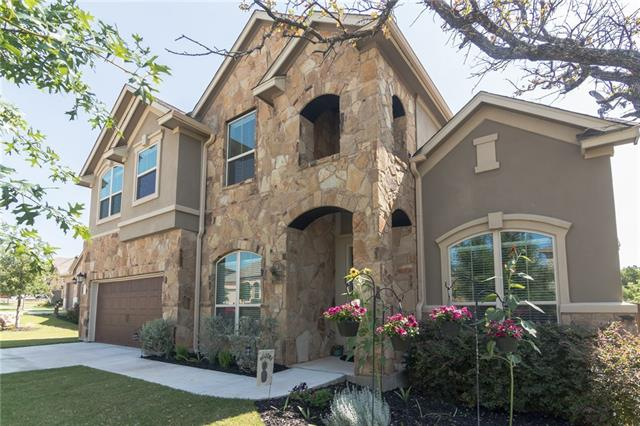 Beautiful 2 story in The Highlands at Mayfield Ranch w/upgrades thru-out! Gorgeous front door, soaring ceilings & open foyer. Chef's kitchen w/granite, SS, island & breakfast nook w/window seats, opens to family rm w/fireplace! 5th/guest bed on main level+formal dining & a mud room! 3 beds +game rm up. Luxurious master w/granite, soaking tub & large shower. Entertain friends & family--TX BBQs on the covered patio overlooking trees behind! Full sprinklers, sprawling, private backyard w/1 side masonry wall!