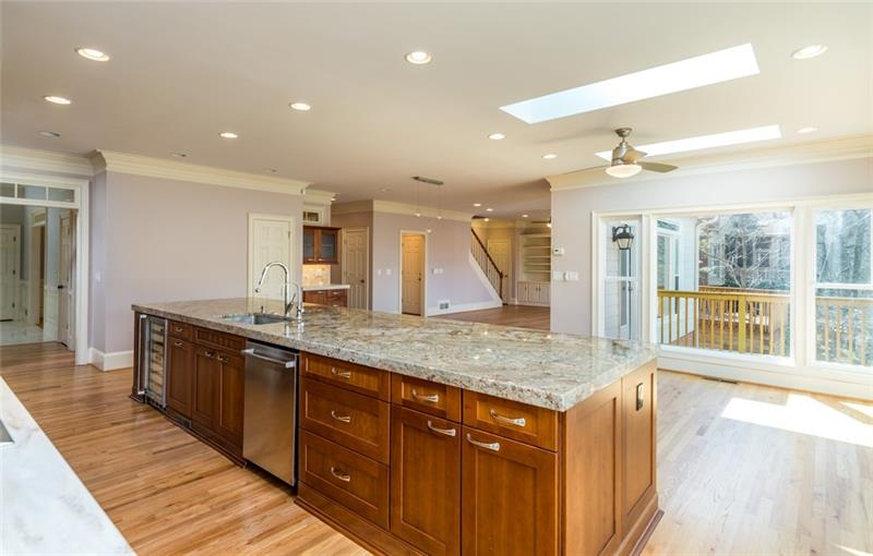 Island is 120q ft of prep space, serving area & room for 4 barstools! Plus more cabinet space than you'll ever need!