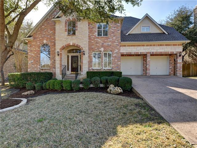 Immaculate French inspired residence towards the front of Steiner Ranch is light & bright with all new interior paint, carpet, balcony decking(2017), & roof (2016). Interior includes hardwoods, gourmet kitchen with stainless appliances,  pro-style gas range w/double ovens, grill, & griddle. Upstairs game room/media rm opens to balcony. Master suite overlooks large, flat backyard on greenbelt with pool, outdoor kitchen entertaining area with room for playscape or volley court. Hike/Bike trails, Pools etc
