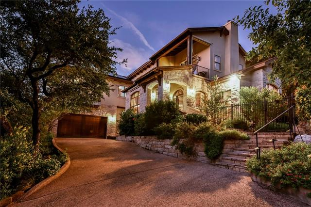 Private, rustic, cozy and sophisticated this gorgeous villa styled property sits atop a 2 acre lot w/ lush and expansive hill country views.Custom built w/ 4/3.5 baths -light filled open living areas including a separate media/game room. Primary level master retreat with a great bath. Extensive hard wood flooring throughout. Amazing outdoor living surrounded by woods w/ relaxing rock pond/waterfall and spa. Exemplary schools in AISD- Doss, Murchison and Anderson High w/ IB program.Solar panels.Lock& Leave