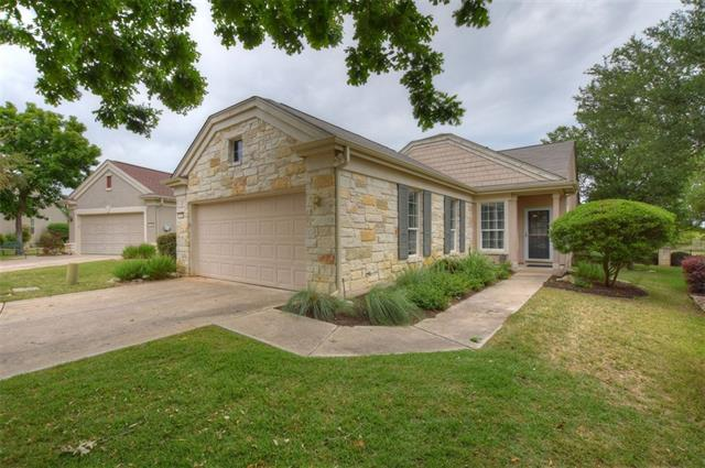 Located on a picturesque cul-de-sac near miles of walking trails, this Sun City Texas Bluebonnet Garden Home features Lock & Leave lawn care included in the stated annual dues.