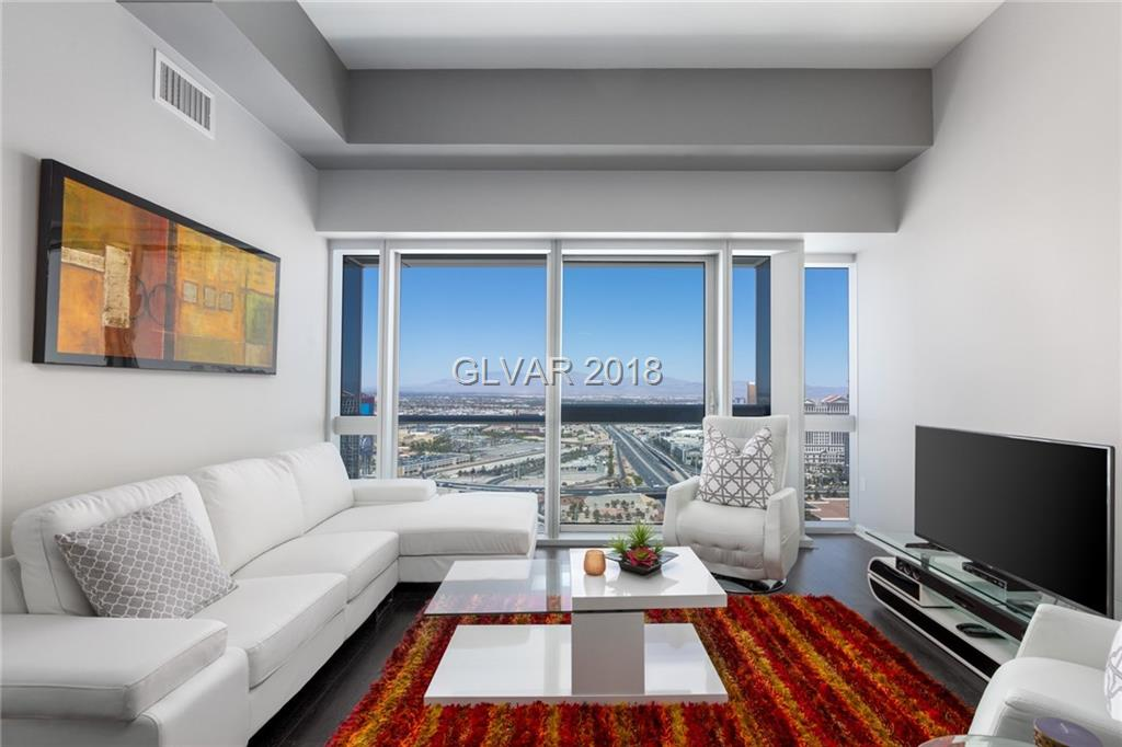 Soak in the epic Las Vegas skyline with spectacular views from the highest floor before the penthouse level in the Martin. Floor-to-ceiling windows brighten this contemporary unit. Features include high ceilings, upgraded appliances, California Closets, fresh paint and refinished bathroom cabinets with added storage! The Martin makes high-rise living desirable with a pool, spa and other resort-style amenities. Unit is offered fully furnished.