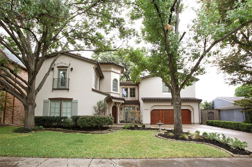 MODERN TUSCAN VILLA w open floor plan for entertaining. Beautiful wood-beamed ceilings & hand-scraped floors. 5 BRs each w en-suite BA & most w door to balcony. Bfast area w 180° view overlooks patio, yard & mature landscaping. Lrg study on 1st floor w floor-to-ceiling built-ins. 3 gas fps, media rm, sep game rm & util rm occupy 2nd floor w 9' ceilings. Oversized 3-car gar. Chef's kitchen features ss Viking appliances, dbl ovens & granite isl. Master ste includes sitting area w 180° view of back yard, & access to balcony.  Huge master BA includes lg walk-in shower w sep Jacuzzi tub, dbl vanities & lg walk-in closet. Ext CAT 5-AV wiring, incl surr-sound in master, game room & media room. New carpet & paint 2017.