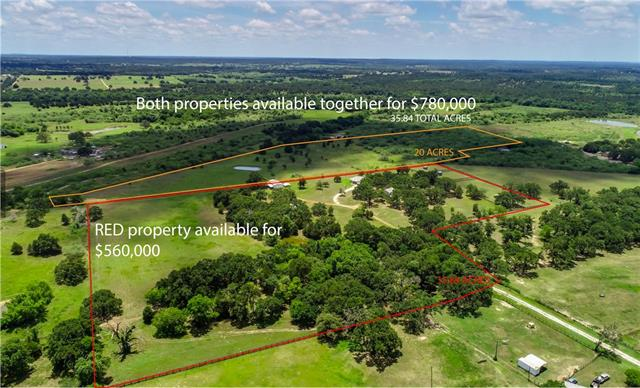 15+/- acres of privacy with TWO meticulously maintained homes in Mcdade, TX! Both homes are approx. 1800 sq ft with 2 large bedrooms & 2 baths, both have large covered porches and one with a 2-car garage. Metal 4-stall horse barn, large equipment/hay barn, tractor shed, 3 large horse paddocks with metal loafing sheds, and two stock ponds. Sandy loam soil. Ag exemption. *(Seller will also sell BOTH homes with 20 acres behind the property for a combined price of $780,000 (See first photo).