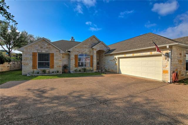 Well built, solid home on beautiful golf course with stunning Hill Country views & a peak of sparkling Lake Travis! Wide open floor plan is an entertainer's dream with fantastic green views out of every window! Handsome kitchen provides lots of cabinet & countertop space & the laundry room is big enough for another refrigerator! Master has 2 walk in closets. Oversized garage has golf cart access & door- add'l space available for a home gym, craft area, game room, kids area... RV or boat parking available!