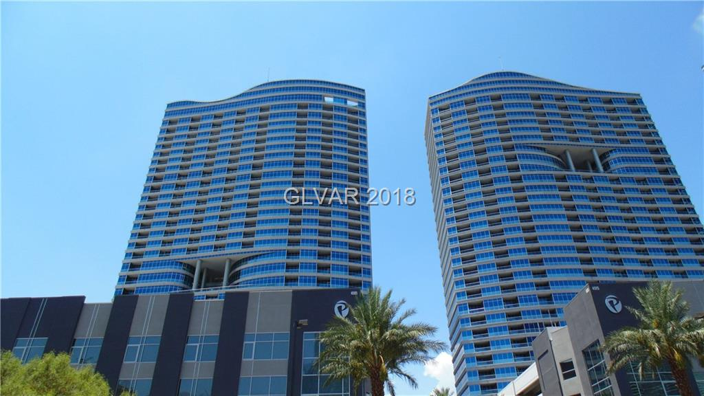 Spectacular!! World Famous Las Vegas Strip & City Center Views from the 25th fl. East facing Floor-Ceiling windows from the Kitchen, Living Room & Main Bedroom showcasing dazzling night light views. Short walk to City Center. HOA Limo service available. Move-in-Ready and is immaculate. Beautiful custom wood flooring, paint & shades. Use the Den as a 3rd bedroom. Will be close to the proposed Football stadium.