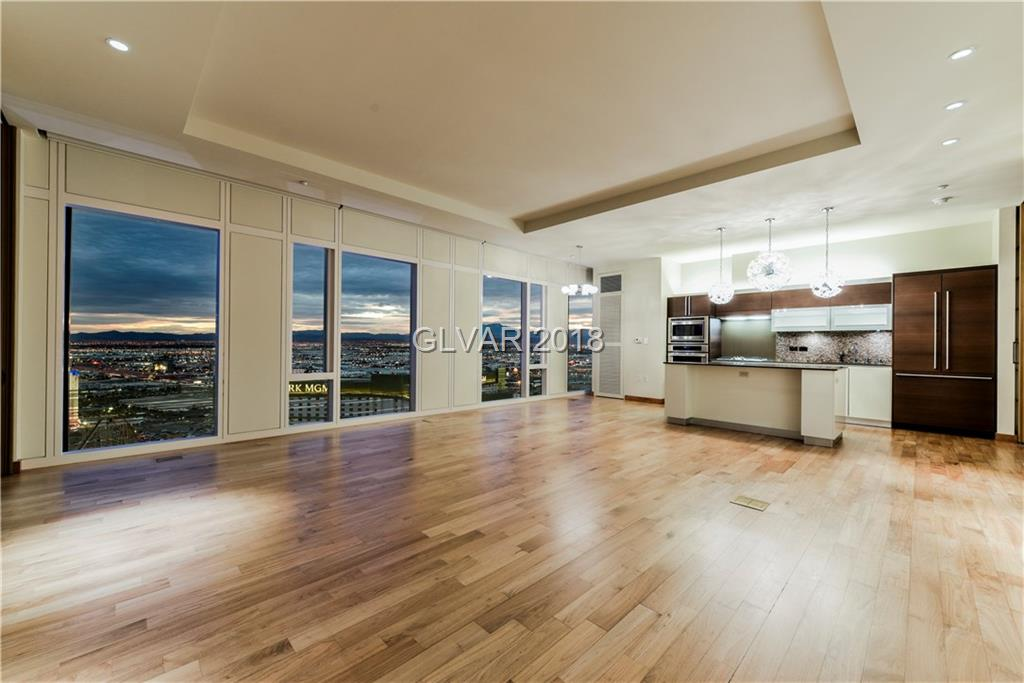 One of the most desirable floor-plans in a world class location with 5 Star service. Featuring an open great room living area with hardwood flooring, contemporary kitchen finishes and floating bathroom vanities. Den can be utilized as 2nd bedroom with access to bathroom with separate shower. Spectacular views of the Southern Strip & City, mesmerizing sunsets and the new Raiders Stadium coming in 2020.