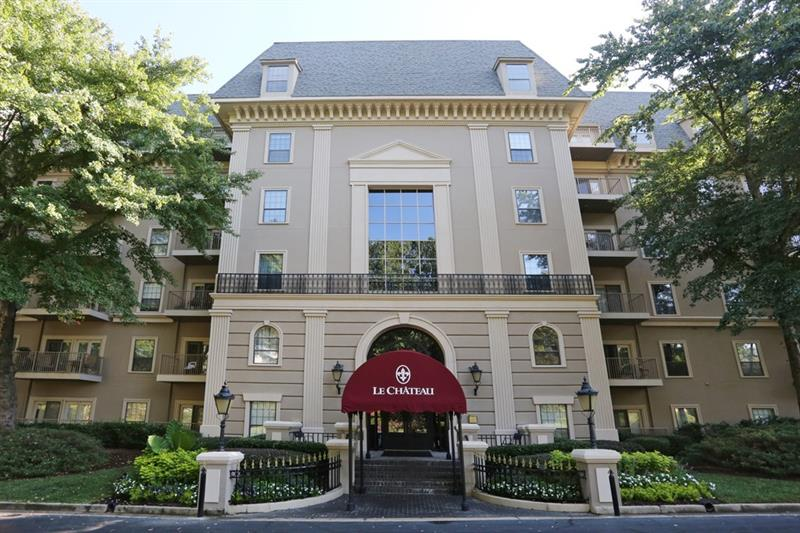 Beautiful condo just off of Lenox Road in Buckhead's Le Chateau!  Eat-in kitchen with granite countertops and stainless steel appliances is steps away from large formal dining area, and overlooks large living area with access to walk-out balcony.  Hardwoods throughout main living area and convenient laundry in-unit.  Perfect for roommates of families-- two spacious bedrooms each have full ensuite bathrooms!  Master suite is a true retreat, with sitting/office area, his/hers walk-in closets, and large master bathroom featuring oversized jetted tub and dual vanities.  Don't miss living in one of Buckhead's most desirable buildings-- Le Chateau features Concierge service, a business center, well-maintained pool, and exercise facilities!
