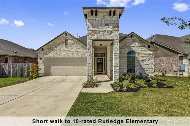 2016 Built, 1.5-story home in Avery Ranch, only steps away from the neighborhood pool. This northeast facing home features greenbelt view, attractive stone façade. 3 Bedrooms and 2 full baths downstairs. 1 Bedroom, full bath, and game room upstairs. This retreat has it all – spacious family room that opens to the kitchen and breakfast area. Kitchen boasts modern glass subway tile backsplash, granite countertops, stainless steel appliances, 5-burner gas cooktop and walk-in pantry.