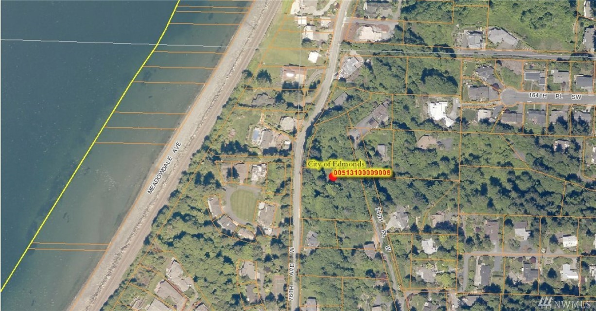 Great opportunity for builders and investors! Meadowdale Beach prime location for this 1.98 acre property, zoned RS20. Beautiful westerly sound & Whidbey Island views from heavily wooded property. Private location, close to waterfront, parks & schools, freeway access & just a few minutes from downtown Edmonds. Water & electric in the street, sewer located on property. Access rd off 76th Ave W and from 74th Pl W. Buyer to verify all information to their satisfaction.