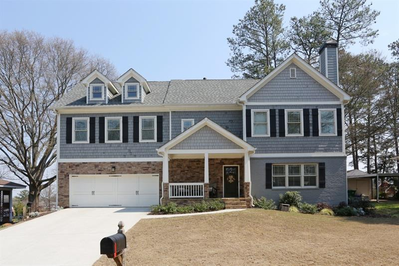 Hurry! Amazing Brookhaven Fields renovation and second story addition! Modern kitchen features stainless steel appliances, quartz counters, subway tile backsplash, and island with breakfast bar. Open concept family room boasts a coffered ceiling, built-in storage, and cozy fireplace with stone surround. Separate dining area perfect for entertaining or casual meals at home. Master suite is a true retreat including a vaulted ceiling, walk-in closet, and spa like master bath with double vanity, jetted tub, and separate shower. Additional bedrooms are well-sized and bright. Upstairs flex space ideal for a home office or playroom. Covered porch lead out to oversized backyard/lot with storage shed. Two car garage! Perfect location only minutes to your favorite Brookhaven hot spots!