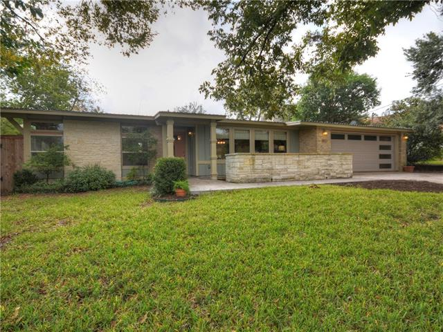 If you enjoy the clean, crisp lines a mid century modern home offers then you will love this one! Very private lot on a cul-de-sac, 2 blocks from Southwestern University. Split bedroom plan, 4 bed, 3 full baths,open living, plus a flex space! Windows & wood ceilings are the showcase features! Thoughtfully designed kitchen - great work triangle, custom cabinets, SS appliances & granite countertops. Unique built-ins maximize space. One of a kind! Call us to set your private appointment!