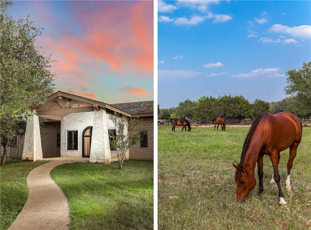 Luxury equestrian ranch architecturally design & built at residential scale. Complete estate fencing & gated, 3 manicured pastures speckled with mature oaks. Stables: 16 stalls(expandable), 5 foaling, Tack room, Equipment room, Parts room, Wash rack, 2 grooming saddle stalls, Irrigation/Pest control systems. 100x200 lighted riding arena/Round Pen. Not the common horse property. Equestrian luxury within gated luxury community, 10min to shopping,dining,entertainment. 35min to downtown Austin & Int Airport.