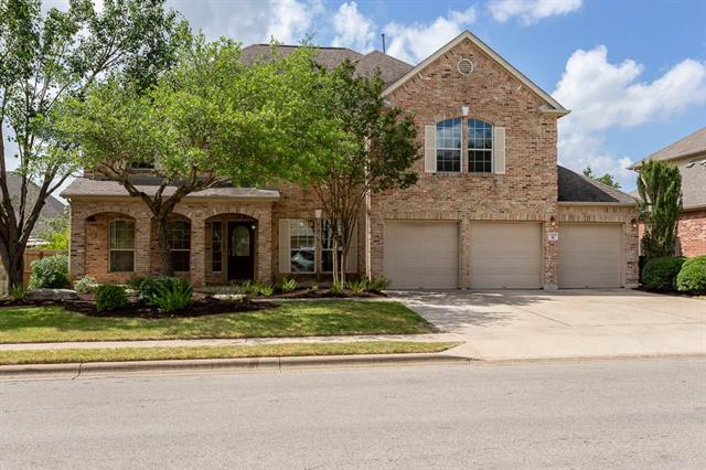 Sendero Springs in Round Rock.   Cactus Ranch Elem  & Walsh Middle School. High ceilings & picture windows to the ceiling in family room.  New paint & carpet. 1 bed  down can be used as a study has custom, built-in shelving.  3rd living area up can be used as a game room.  Fridge, washer  dryer, window valances, drapes & custom shower valances incl.  Wired w/ built-in speakers incl at the back of the house.  Nestled on a .25 acre lot - med  & lrg trees.  Covered front porch faces NW.