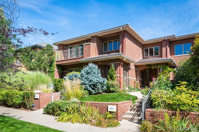 Desirable Cherry Creek North, walking distance to restaurants and shopping. Interior consists of hardwood floors, plantation shutters, surround sound, central vac, and was painted 2 yrs. ago. Living room with a 2-sided fireplace adjoining the formal dining room. Gourmet kitchen consists of slab granite, Wolf stove, Sub Zero, double ovens, custom cabinets and center island. Family room has a fireplace, and dining nook. The upper level has a bed with an ensuite bath and balcony. Master suite, with a fireplace. Master bath has a steam shower, and jetted tub. Study with custom built-ins. Laundry room is on the upper level. Basement has large rec room and wet bar, media room with state-of-the-art movie projector, bed and a full bath. The exterior has brick siding, concrete tile roof, private courtyard with water feature, rooftop patio with spiral staircase to the lower patio, upper and lower water features. 3-car garage, security system, and electronic gated front entry.