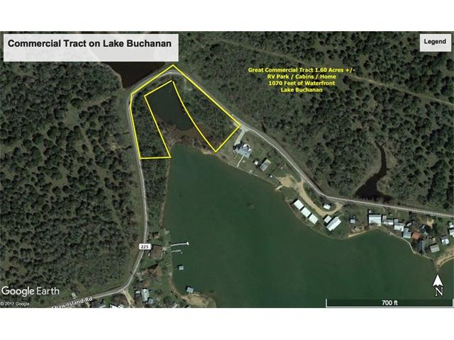 Commercial, Unrestricted, Beautiful Waterfront Lake Buchanan, 1070' Water Front, 1.6 Acs, Great Location for RV Park, Cabins, Gentle Slope for Swimming, Kayaking, Water Sports, Fishing, Panoramic Views, Unspoiled, Electric, Easy Access to Austin less than an Hour Away, Big Views, Open Water, Great Privacy, Sounds Just Like the Right Place, Potential and the Perfect Location for an RV Park Build Cabins to Rent or Both, Don't Miss This Chance to Own Nice Property with Lake Buchanan Waterfront!