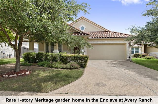 Rare 1 story Meritage garden home in the Enclave at Avery Ranch. Easy walking distance to the Main Amenity Center with lap swimming pool and tennis courts, restaurants, shops and Summer Moon coffee. Unique Mediterranean tile roof makes this one of the most eye catching homes in the neighborhood. The open floor plan features a bonus room adjacent to the master that is perfect for a nursery, office or home gym. Master suite with 2 walk in closets, separate shower and soaking tub. HOA maintains front yard.