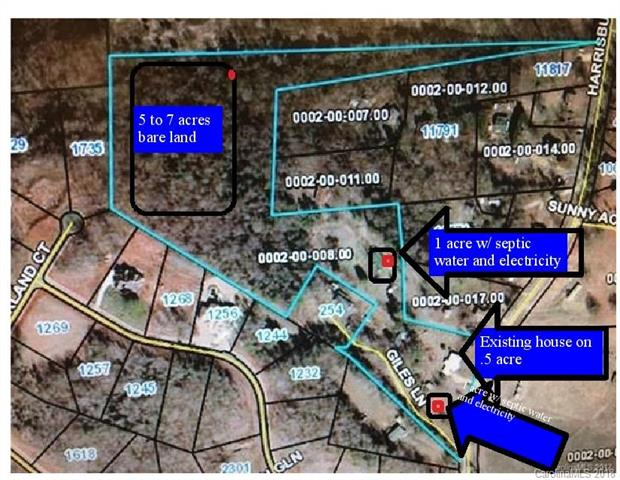 GREAT LOCATION just 2 (+-) miles from the Carolina place mall, HWY 485 & 10 min drive to Ballantyne . The back section of the lot is a lovely 5 to 7 acres: potential for MULTIPLE parcels & building sites. There is an option to purchase lots separately or the whole 14.6 acres.
