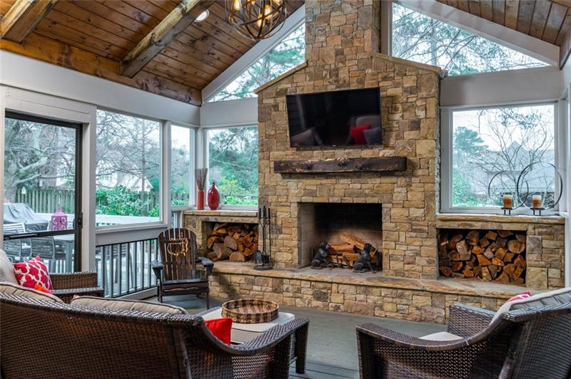 Breathtaking floor to ceiling fireplace with TV connection ready for you!