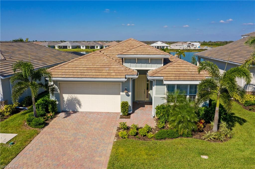 "If a BREATHTAKING water view of the largest lake in Egret Landing is what you've been looking for, this beautiful lakefront home delivers!  Enter this home's GRAND entry foyer, immediately see the expansive lake views and you'll know this D.R. Horton built home has the perfect location and size for future pool and outdoor entertaining!  With 2,431 sq ft, it provides a large open concept living area and kitchen with stunning views.  The kitchen is stainless with upgraded granite countertops and a large pantry. The large eat-in kitchen area AND  formal dining room are designed for plenty of family and friends to gather. Rich, double crown molding has been installed throughout. The paint and tile flooring are a neutral color to work with any furnishings. The master bedroom has a lake view and the spacious bath has an upgraded granite countertop, separate tub, upgraded shower and a large walk in closet. The other 3 bedrooms share 2 granite baths, and a half bath is on the lanai as a future ""pool"" bath. Furnishings are negotiable.  Naples Reserve has wonderful amenities, from restaurant, to community pool, tennis, beach & boat docks set among lush, tropical landscaping throughout!"