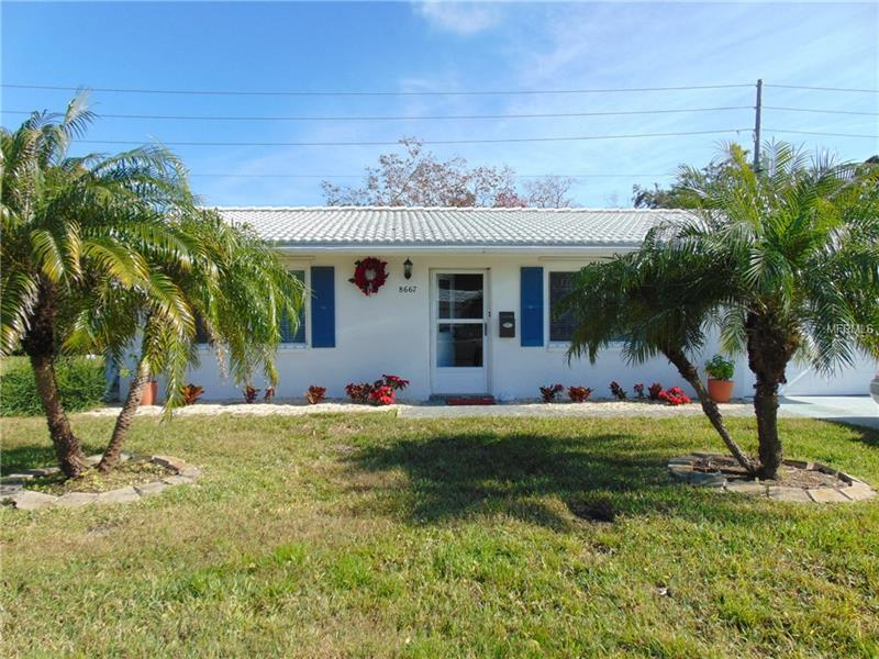 Updated, 2 Bedroom, 2 Bath home in the desirable Tamarac by the Gulf community that features a newly remodeled Clubhouse, Heated Pool and Shuffleboard Courts. Tamarac is an active 55+ community convenient to shopping, Indian Rocks Beach AND allows 2 pets per family. $189 monthly association fee includes lawn maintenance, water, sewer, trash, exterior paint, and amenities.  Open floor plan, kitchen/dining opens to the back Florida Room, screened lanai and back yard patio. Exceptionally large 20 ft long master suite. Lower electric bills with the double pane, insulated windows. Tile roof 2008, flat 2016, AC 2016.  Enjoy a wonderful Florida lifestyle in this beautiful, meticulously maintained home.