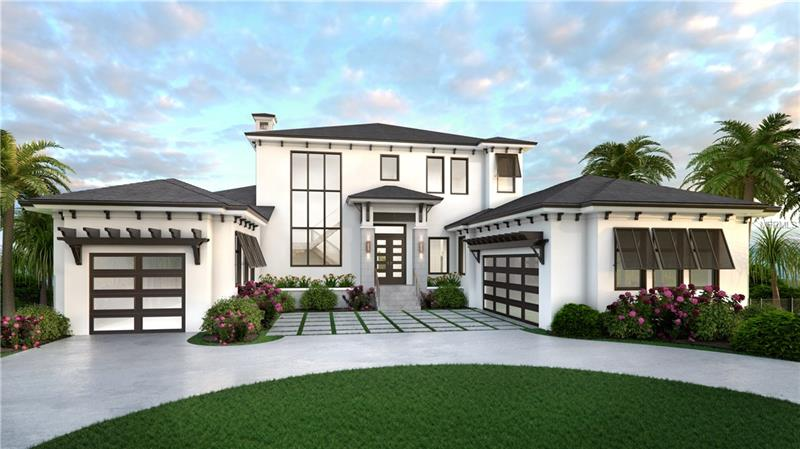 Under Construction. Stunning Coastal Contemporary new construction in exclusive Venetian Isles. This 5 bed 4.5 bath residence is designed with an emphasis on open living and connective spaces with high ceilings and large impact windows and doors to maximize views and natural light. A terraced backyard allows for expansive outdoor living and entertaining spaces that blur the lines between indoors and outdoors. A large infinity edge pool and spa overlook the blue-green waters of Tampa Bay and the Tampa skyline beyond.  Inside, the Great Room combines living, dining, and kitchen into one central open space. A large walk-in pantry, built-in bar, and optional wine cellar ensure the home functions for daily living as well as entertaining groups large or small. The first floor Master Suite has a private waterfront terrace, double walk-in closets, and an expansive Master Bath with free standing tub, walk-in shower, makeup desk, and double vanities. A Powder Bath, Utility Room, tech closet, and another bedroom and full bath round out the 1st floor.  Upstairs, a central Media/Bonus Room opens onto a large covered balcony and separates 3 bedrooms and 2 full bathrooms. An optional elevator upgrade can also do double duty as air-conditioned storage or a bonus room. One of only 11 homes situated on Carolina Circle, this unique property offers totally unobstructed views of Tampa Bay. Deep harborage for large boats and other water toys coupled with open water views make this a rare and truly unique opportunity.