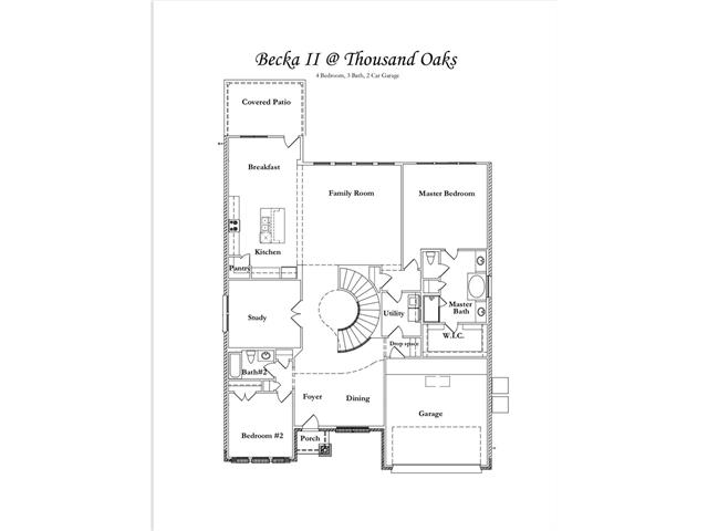 """TO-BE-BUILT """"The Becka II"""" floor plan in Thousand Oaks.  Two-story, spiral staircase,  4 bedrooms, 3 baths, 3 car garage, study and game room in the heart of Cedar Park."""