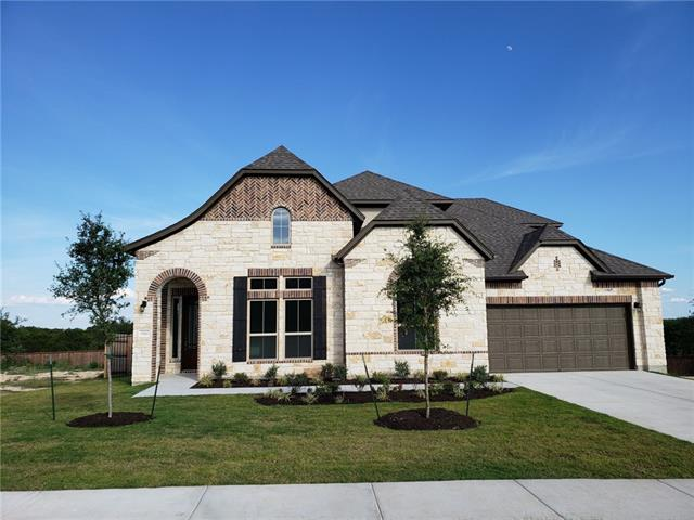 Inviting, open plan filled with natural light and expansive kitchen/breakfast/family. Spacious covered patio overlooks greenbelt. Master suite with patio door and utility room off master closet, formal dining, study. Granite and wood floors. Trento offers a beautiful oasis to those who seek the best in hill country living. Enjoy incredible tree-lined views, luxury amenity center/pool, minutes from Cedar Park shopping and activities. Milestone Community Builders.