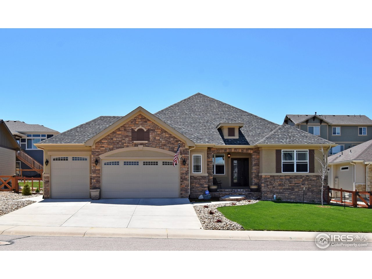 Immaculate custom built home with 4 bedrooms, 4 bath in Poudre River Ranch. Open floor plan boasts beautiful hardwood floors, gorgeous stone living room fireplace & many more luxurious finishes throughout. Formal dining area, eat-in kitchen w/ walk-in pantry & all SS appliances. Master bd w/walk in closet & stunning 5 piece master bath. Basement is ready to finish, a bathroom has already been completed. 3 car garage, fully finished landscaped yard & covered back patio. Windsor school district.