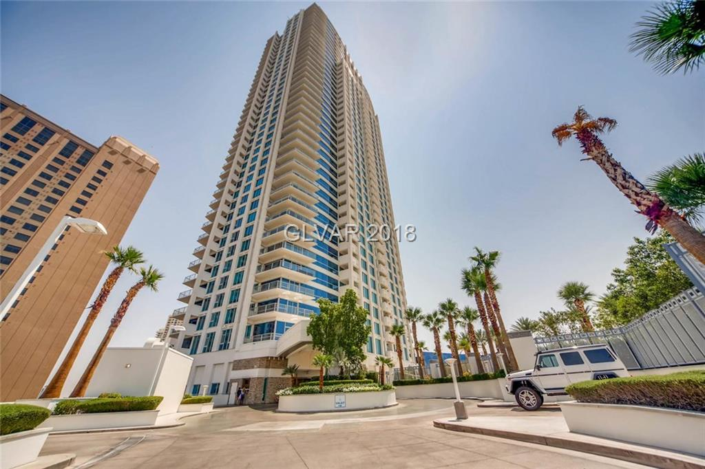 Location, location, location.  Located on the famous Las Vegas Strip.  Building is guard gated and features one of the best pools in Las Vegas, with cabanas, spa, BBQ area, pet area, locker rooms, spa, gym and theater.  Gorgeous corner unit w/ wrap around balcony.  Mountain and pool views.  Features granite counters, custom cabinets, Bosch appliances, marble flooring in kitchen and baths, 2 Master bedrooms and is fully furnished.
