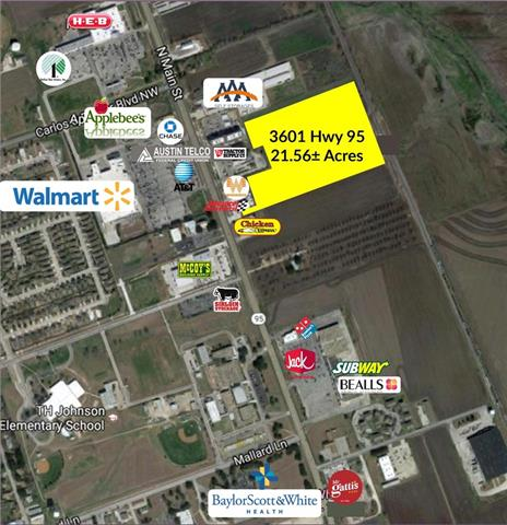 With 21 +/- Acres this wonderful opportunity is surrounded by flourishing businesses in the thriving high traffic area of Main Street in Taylor situated just blocks from the Taylor Regional Park & Sports Complex and Baylor Scott & White Medical Center.