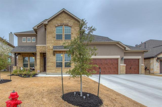 M/I Homes most popular floor plan w/5 BR 4.5 BA*$50k upgrades*Beautiful granite counters w/huge kitchen island, gas stove*Master suite with bay window, tray ceiling, his/her walk-in closets, separate vanities, garden tub & shower w/seat*Prewired for sound/security*High ceilings with lots of windows & natural light*Guest room suite*Butlers pantry kitchen to formal dining room*Upstairs study can be informal living room, media or extra bedroom*2 natural creeks*Brand new & ready for move in!