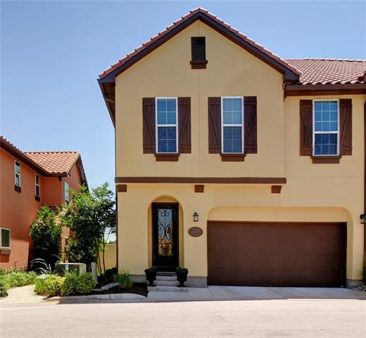 Clean, modern, new, Spanish Style Townhome! 3-2.5, 2 garage, fenced yard. Island kitchen w/custom granite, traverntine backsplash. Stunning wood floors, 5.1 surround sound ceiling speakers. Lux master bath w/dual vanity, glass shower + deep soaking tub. HUGE walk-in. Private terrace. Super energy efficient + tankless H2O, LED lighting. HOA covers pest control, landscaping, ext+common insurance, clubhouse & pool. Gated Community. Excellent access to Four Points, Anderson Mill & Lake Travis. W/D included