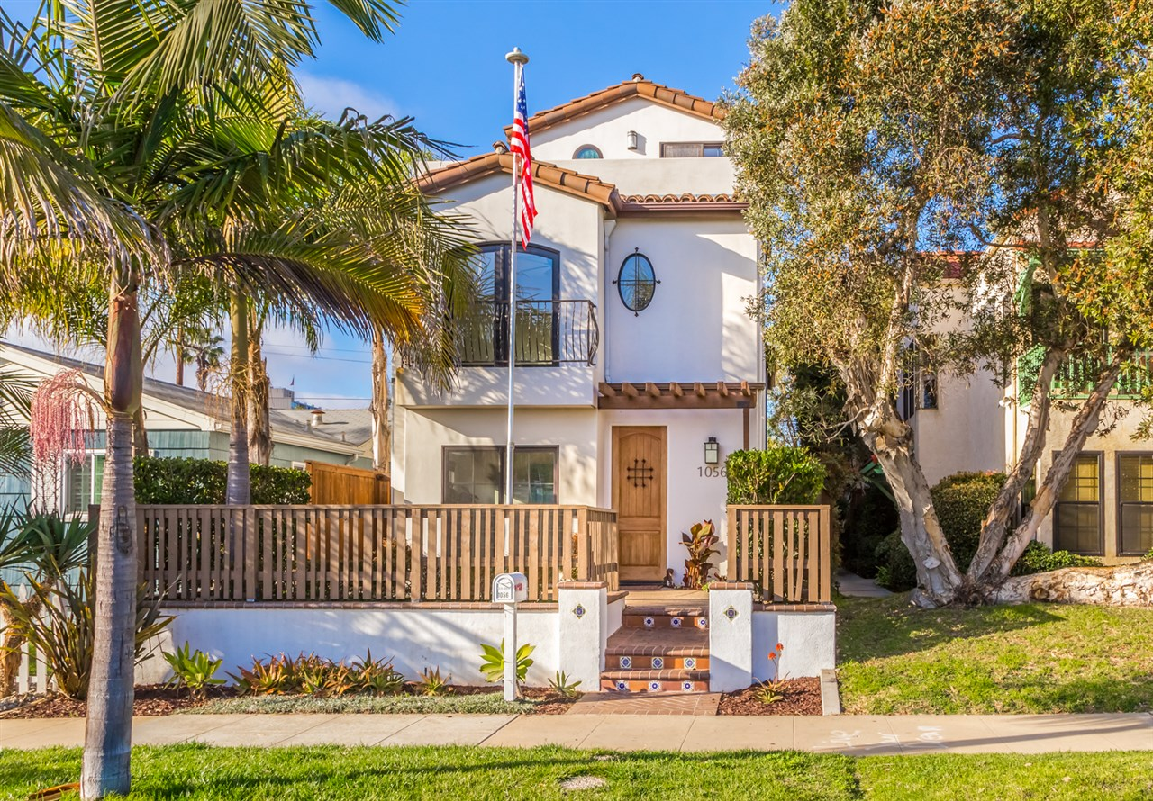 """Ideal Pacific Beach home in a friendly neighborhood. One of the best homes in this price point. This 3 story  home was built in 2011 with attention to detail. The home was designed in the Spanish Colonial style of Architecture, using white stucco, dark wood accents, variegated clay roof tile and hammered iron railings.  The interior of the home has been freshly painted and new landscaping has been installed as well. 3 Br. 3.5 bath with optional 4th bedroom.Don't miss this Pacific Beach Gem! Located within walking or biking distance to the beach, restaurants, shops and all that PB has to offer. This quiet neighborhood exudes  Southern California lifestyle. The entry level provides a kitchen, living/dining area and a lovely sun room. You have sliding glass doors leading to both the front and back yards. The large back yard leads to your car port, ideally designed with roll up doors to both the alley and yard. Your second floor provides ample space for 3 bedrooms, including an en suite master bath in the master bedroom with walk in closet. Your top floor is designed with the flexibility to be a """"Penthouse"""" or entertainment area. The layout includes a full bathroom, kitchenette, and large ocean view deck. This home will not disappoint!"""