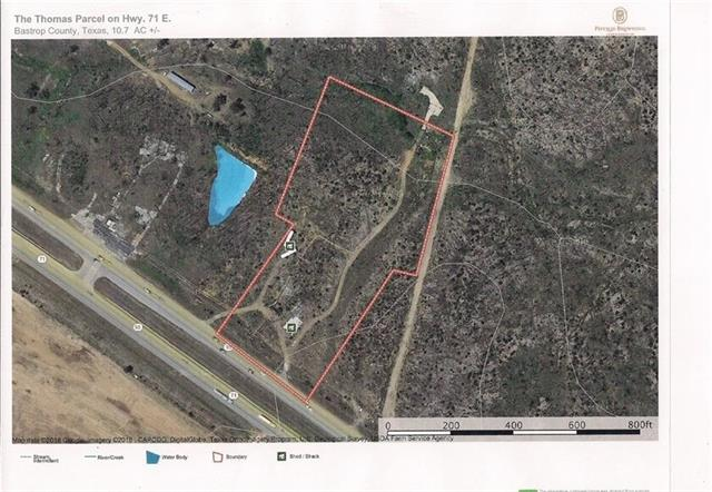 Located on HWY 71 between Bastrop and Smithville, this property is visible and accessible from double frontage, providing a high flow of traffic! This 10+/- acre tract of land is the prime location for your business! Easy highway access with 300+/- frontage, short commute to Bastrop or Smithville, 30 minutes to ABIA and next to succeeding business. Come see this property and envision your commercial dream starting!
