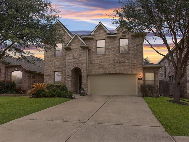 Great home in The Ranch at Brushy Creek. Tons of upgrades.  Granite in kitchen, breakfast bar, wood flooring in main floor, security cameras.  Master bedroom downstairs, office with french doors, 2.5 Car garage.  Large game room, private backyard with covered patio and extended outdoor area. Stainless steel appliances, RRISD.  Walk top community pool.