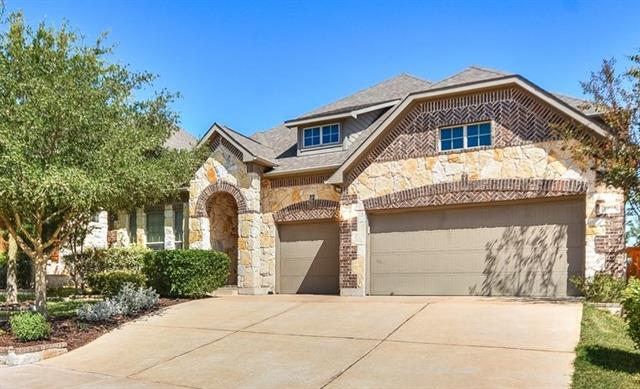 Unique 1.5 story home in Teravista! This home offers beautiful curb appeal with the stone and brick combo. The backyard will not disappoint with a big covered porch and beautifully manicured grass for you to enjoy. Interior offers a beautiful open floor plan with many upgraded features as you can see! The community is full of hike and bike trails, multiple pools, tennis courts, sports courts, with a golf course and just minutes to HEB, Round Rock outlets, IKEA, movie theater and tons of restaurants!