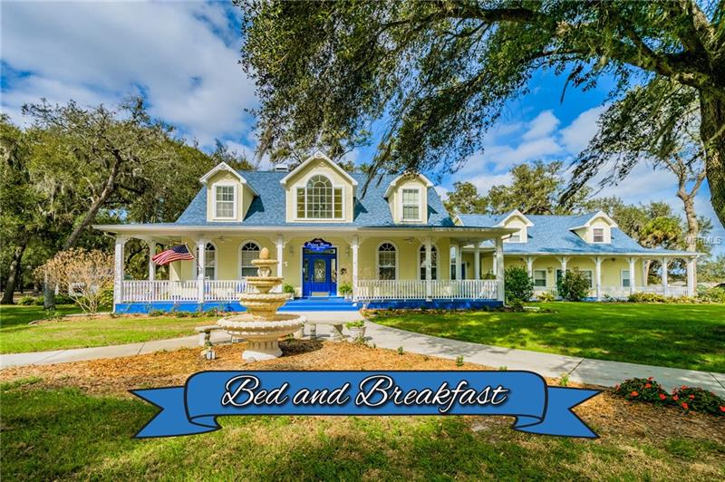 Palmer House Bed and Breakfast is nestled on 8 acres just around the corner from Tampa Bay's best-selling communities, Fishhawk Trails and Fishhawk Ranch in Lithia, FL. Established in 2002, Palmer House is centrally located right outside of Tampa, so as to take advantage of the best Florida has to offer, from Disney world, Universal Studios,  Busch gardens, Sea World, and the top rated sandy beaches of the Gulf Of Mexico. This beautiful property operates currently as a full time, year around B &B. The main house offers a 2 bedroom suite upstairs, 1 innkeepers suite downstairs, living room with a wood burning fireplace, breakfast room, tea room, and a fully equipped kitchen. The adjoining building offers 4 additional private themed suites boasting both modern and antique furnishes, décor, appliances, and fixtures. The property offers a inviting wrap around porch, a gorgeous gazebo, heated pool with salt system, private hot tub, and sprawling grandfather oaks. Additional income producing events include; intimate weddings, tea parties, corporate events, workshops and much more. The property also offers the possibility of redevelopment and potential growth. The Real estate, business, goodwill, all furnishings, fixtures and equipment are included.